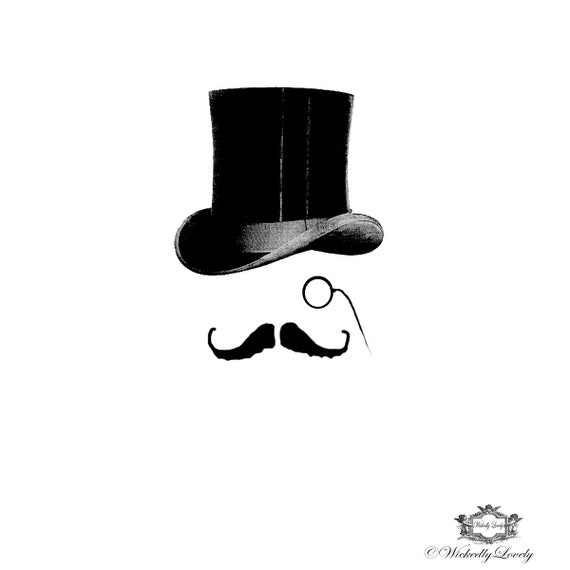 bertie victorian top hat moustache wickedlylovely skin art temporarytattoo  includes . e61d3f8c05407