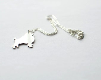 Poodle necklace. Sterling silver chain
