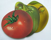 1970s serving boards, formica platters in shape of tomato, apple and pepper