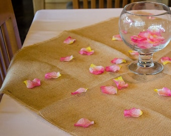 Burlap Square Tablecloth 54 x 54 inches, Rustic Burlap Table Overlays | Burlap Tablecloths, Wedding Decorations, Rustic Wedding Table Decor