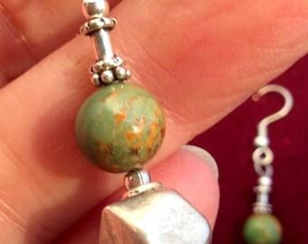 Green Tibetan Turquoise & Sterling Silver Earrings.. free US ship 26.00 ea