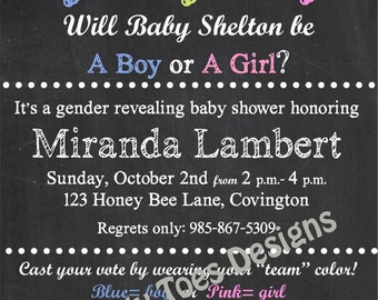Chalkboard GENDER REVEAL BABY Shower Invitation Printable