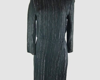 Vintage Black Dress with Vertical Stripes - Made in England by Stitches