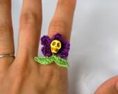 Day of the Dead Ring - Dia de los Muertos Ring - Sugar Skull Jewelry - Flower Crochet Skull Ring - Hypoallergenic Jewelry - Handmade Jewelry