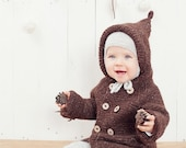 SALE 50% OFF Brown hooded baby coat / Hand knitted brown wool sweater / Baby / Kids / Children Cardigan / Duffle Coat / toddler sweater