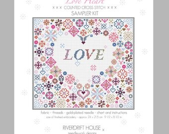 LOVE HEART Counted Cross Stitch Sampler Kit by Riverdrift House