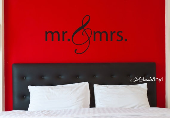 Mr and Mrs Wall Decal Wedding Gift Newlyweds Bedroom Vinyl Decal Love Decor
