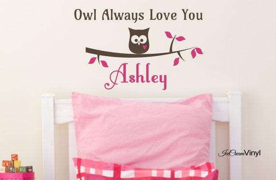 Owl Always Love You Wall Decal for Nursery Kids Room Name Monogram Childrens Vinyl Lettering Wall Decor