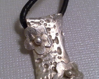 Flowers on Bark - Fine Silver Pendant