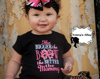 The Bigger the Bow the Better the Mommy - Girls Leopard Applique Black Shirt & Matching hair bow set