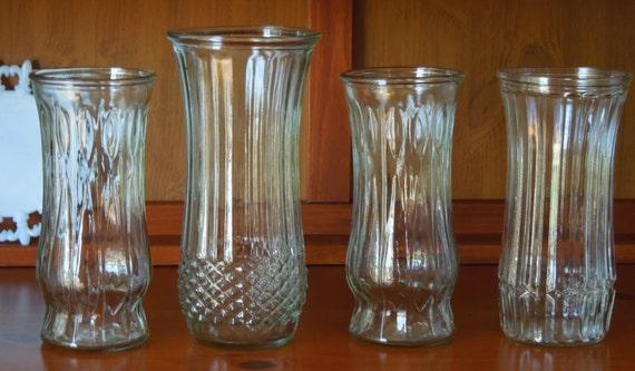 4 large vintage clear glass vases hoosier glass and cfg. Black Bedroom Furniture Sets. Home Design Ideas