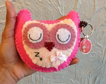 Handmade Owl Felt Key Ring Chain