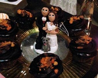 Custom Sports Team Attire and Flag Wedding Cake Topper