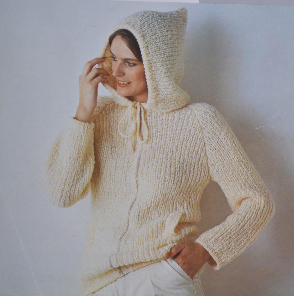 Knitting Pattern Ladies Hooded Jacket : Ladies hooded jacket hoodie vintage knitting pattern pdf