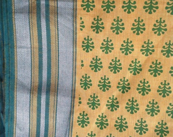 Gorgeous Yellow handloom fabric Indian handloom cotton with leaf print cotton fabric by the yard
