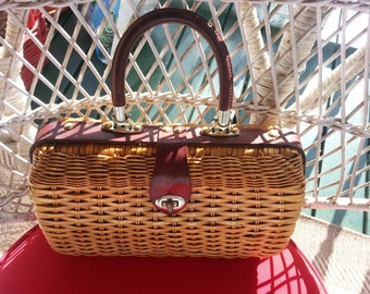 Vintage Basket Weave Purse with Leather Handle