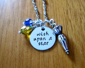 "Pinocchio Inspired Necklace. Jiminy Cricket ""Wish Upon A Star"".  Swarovski Elements crystals, for women or girls. Hand stamped."