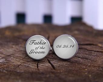 Custom Wedding Cufflink, Father Of The Groom Cufflinks, Father Of The Bride Cuff Links, Custom Date & Name, Wedding Cufflink, Wedding Gifts