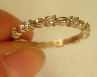 925 Sterling silver thin band ring with Crystals, size 8