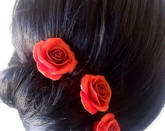 Red roses large rose, Wedding Hair Accessories, Bohemian Wedding Hairstyles Hair Flower - Set of