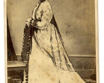 Woman Lace Dress 1870s Antique Victorian CDV Carte de Visite Fashion Photo