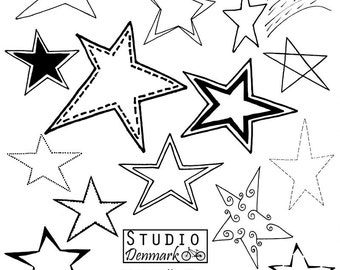 Stars Clipart Set - 14 Doodle Stars Included - Commercial Use Vector - png, jpg, and eps - Instant Download Star Clipart