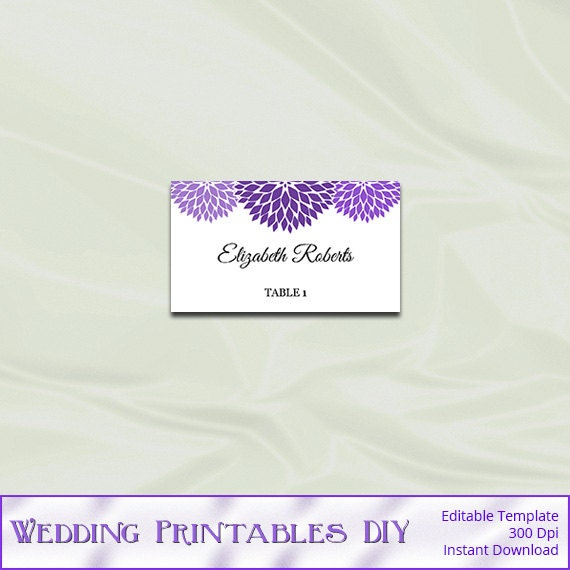 purple wedding place cards template diy table tent name card