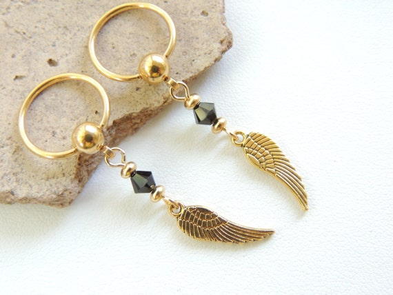 Gold angel wing nipple ring set of 2 gold nipple jewelry for Angel wings nipple piercing jewelry