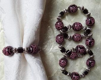 Set of 4 Chic Beaded Napkin Rings