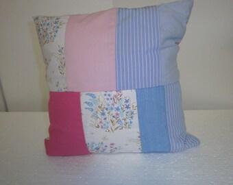 delicate pastel pillow pink, white patchwork by himmeldurchnadeloehr, flower,