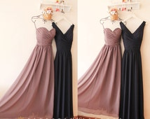 Grey Bridesmaid Dress,A-line Long Navy Bridesmaid Dress,Sexy Navy Prom Evening Dresses,Strapless Grey Long Chiffon Cheap Bridesmaid Dress