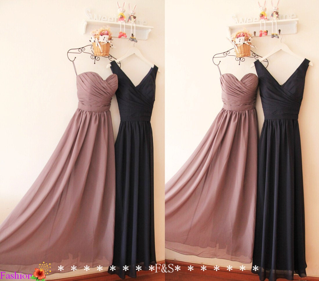 Grey bridesmaid dressa line long navy bridesmaid dresssexy zoom ombrellifo Images