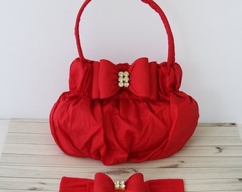 Red Girl's Purse, Toddler Purse, Baby Red Handbag, Red Baby Headband, Photography Prop, Red Bow Headband, Red Kid's Purse, 687