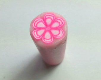 SALE...Raw Unbaked Polymer Clay Millefiori Hot Pink & White Floral Cane