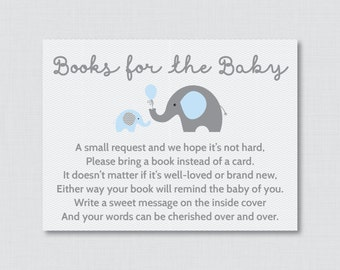 Elephant Baby Shower Bring a Book Instead of a Card Invitation Inserts - Instant Download - Blue and Gray Boy Baby Shower - Elephant 0024-B