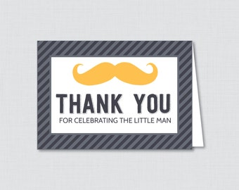 Printable Mustache Thank You Card - Printable Instant Download - Mustache Baby Shower Thank You Cards, Little Man Baby Shower - 0002-Y