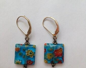 Vintage venetian glass earrings & bracelet, set