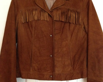 Vintage suede cowgirl jacket with fringe