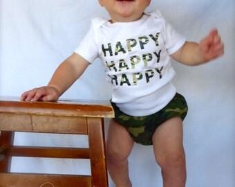 Custom Baby Bodysuit Camouflage Bodysuit Duck Dynasty Happy Happy Happy