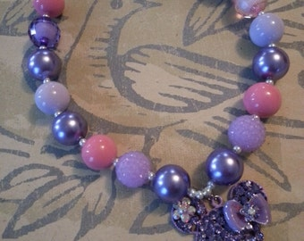 Minnie Chunky Necklace Purple Lavendar Pink