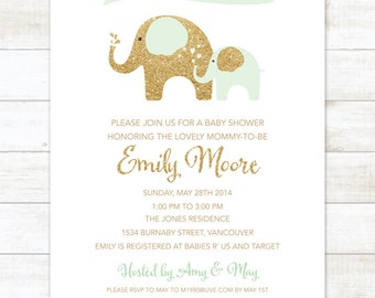 mint gold elephant baby shower invitation mint gold glitter elephants shower invite printable modern shower digital invite