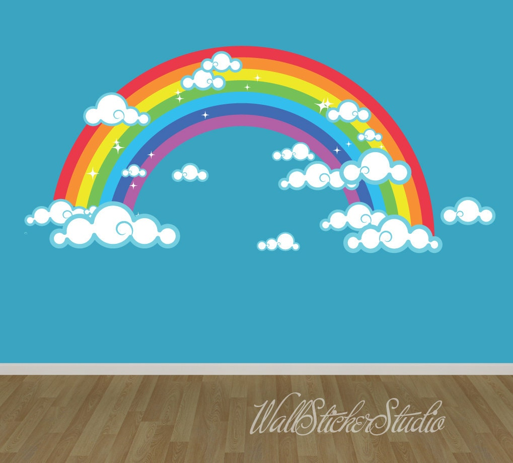 Rainbow Wall Decal Reusable Fabric Decal Rainbow With Clouds