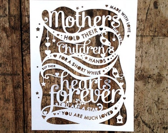 Papercut Template 'Mothers hold their childrens hands' Mother's Day PDF JPEG for handcutting & SVG file for Silhouette Cameo or Cricut