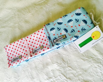 Baby Burp Cloths ~ Sailing Away ~ Oliver Burps ~ set of 3 ~