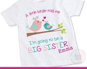Big Sister Shirt, Big Sister Announcement Shirt, Big Sister Bird Shirt, Pregnancy Announcement tshirt, Bird Big Sister Shirt, TE073