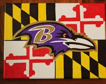 Batimore ravens football logo on Maryland flag hand -painted on canvas in vibrant colors
