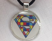 Autism necklace - autism jewelry free shipping Superman no supermom autism necklace. By Geneva's Sky