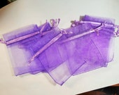 10 Purple Organza Jewelry Gem Bead Bag - Bags Pouch - Pouches / Small Cute Mesh Purple  / Pull String / Shower Party
