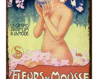 Fleurs De Mousse Bathroom Vintage Metal Sign Retro Tin Plaque Advert