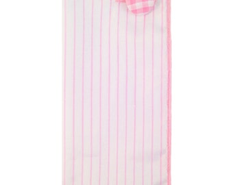 White and Pink Stripe Pocket Square